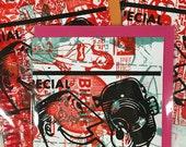 Retro Cameraman Mash-Up Monoprint Blank Card