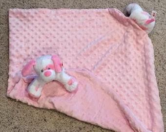 Pink MInky Dot Puppy Dog Security Baby GIrl Minky  Blanket Lovey Lovie Gift