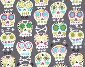 Michael Miller Fabric Bonehead Skulls Gray