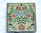 Compact Mirror - Vintage Floral Pattern - Christmas Colours by William Morris (1834-1896)