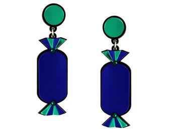 Blue Quality Treat Sweet Earrings Lasercut Acrylic