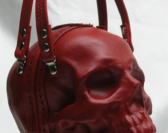 Leather Skull Purse Clutch in Red