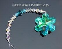 m/w Swarovski Crystal RARE RETIRED Antique Green (Aqua) AB Coated Suncatcher Logo Etched Snowflake Lilli Heart Designs