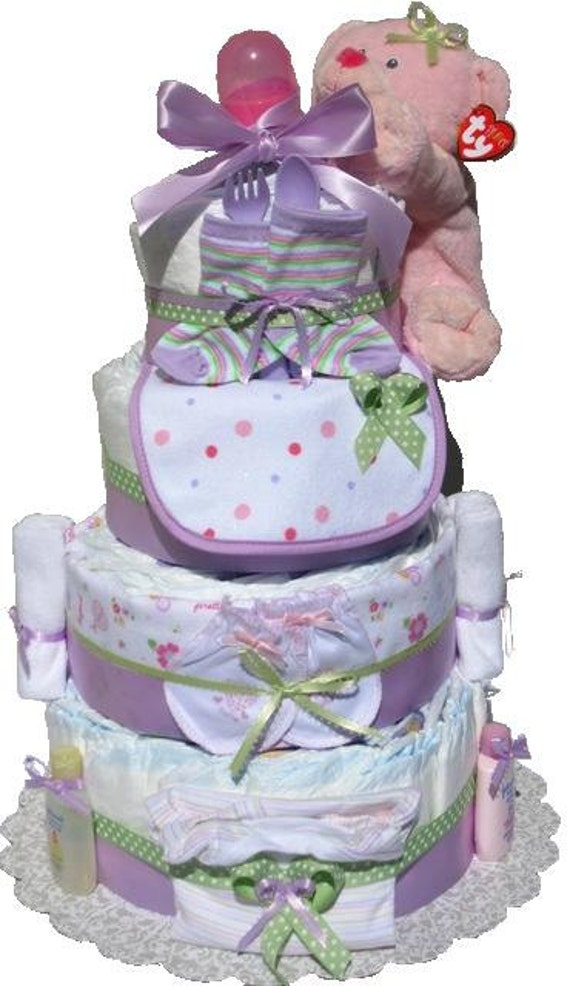 Girl Diaper Cakes for Sale, Girl Diaper Cake, 4 Layer Diaper Cake, Baby Shower Centerpiece