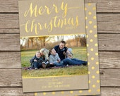Photo Christmas Card Template: Gold Foil Faux Effect Merry Christmas Custom Photo Holiday Card Printable
