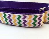 Dog Collar, Mardi Gras Chevron,1 inch wide, adjustable, quick release, metal buckle, chain, martingale, hybrid, nylon