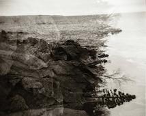 Lake Superior Soul Original Holga Film Photo - Double Exposure of Lake Superior and It's Rugged Shore