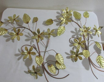 Metal Dainty Leaf Branches with Flowers Set of 2