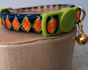 Small Cat Collar / Kitten Collar Tropical Lime and Tangerine