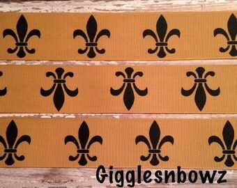 Grosgrain Ribbon 5 yards 1.5 Inch Black Fleur de Lis on Golden Tan GROSGRAIN Ribbon for Hair Bows sports Scrapbooking Football Cheer Craft