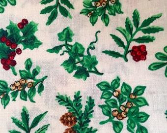 Vintage Christmas Holiday Fabric Yardage