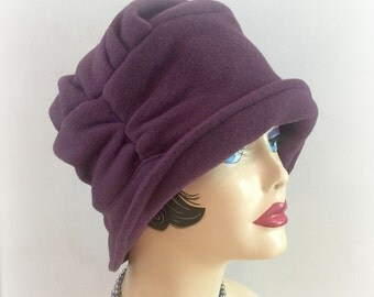 Warm Fleece Cloche - Downton Abbey Cloche- Eggplant Cloche - Flapper Style Cloche - Warm Winter Cloche - Handmade in the USA
