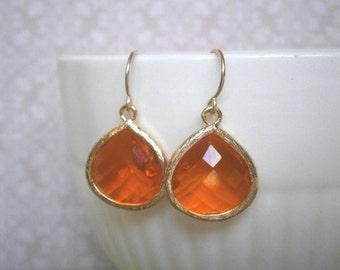 Tangerine Earrings, Orange Earrings, Gold Earrings, Jewelry Under 30, Gifts for Her, Spring Wedding