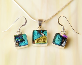 SALE Handmade Dichroic Sterling Silver .925 Fused Glass Pendant Necklace Earrrings ...matching set...
