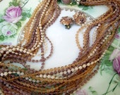 Vintage Multi strand beaded necklace choker and Cluster earring set Beige tan