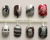 Classical Music Press On Nails   Nails For Musicians   Classical Music Fake False Nails   Beethoven Orchestra Acrylic Glue On Nails