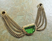 1930's, Art Deco Era Double Dress Clips, Fur Clips, Sweater Clips, Brass and Green Glass