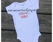 HBAC  HBA2C baby onesie short sleeves, home birth