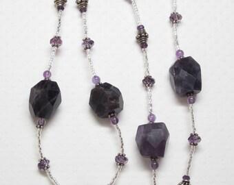 Long Purple Necklace, Long Purple Amethyst Necklace, Chunky Amethyst Necklace, Purple & Silver Long Necklace