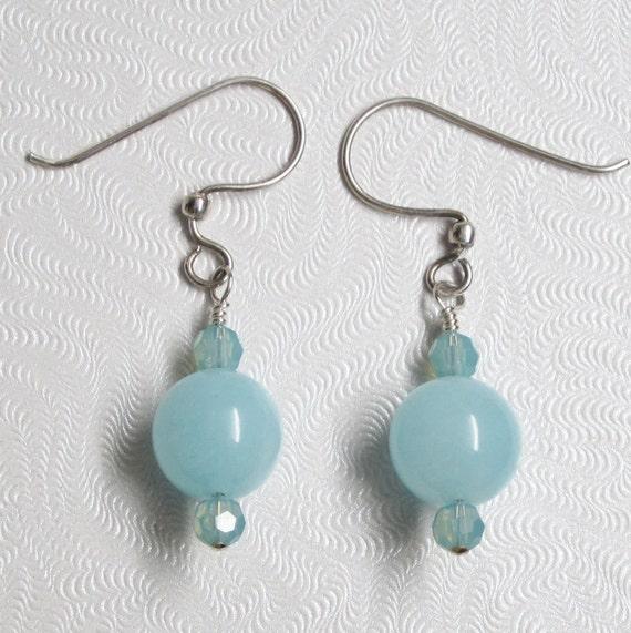 Aquamarine Gemstone Earrings: Light Blue Earrings Aquamarine Gemstone Earrings Blue