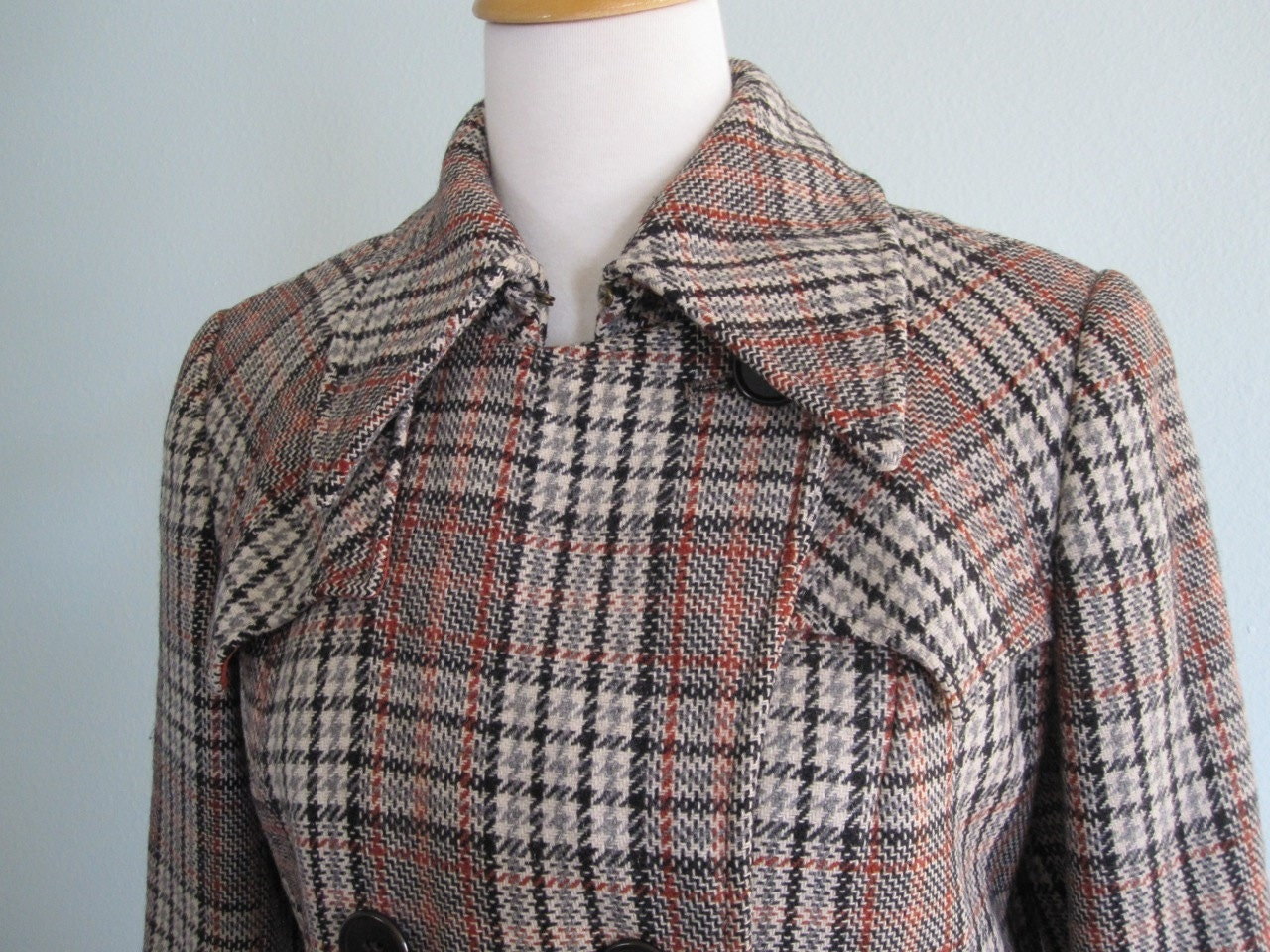 60s Austrian Plaid Wool Coat