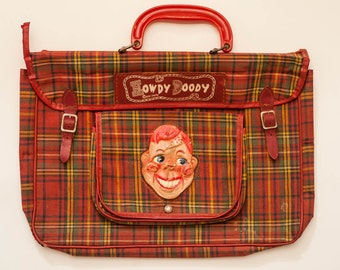 1950's RARE Vintage, Collectible, HOWDY DOODY,   Children's Toy,  Red School Bag.