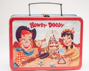 RARE HOWDY DOODY 1950's  Adco Liberty Co. Children's Lunch Box. Lunchbox Collectible, Memorabillia