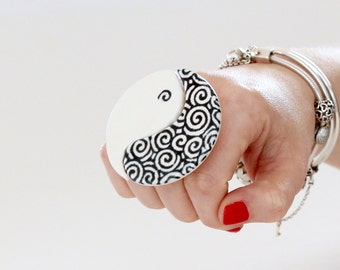 Yin and Yang Ceramic Ring  - bold ring, gift for her,  oversize ring, statement ring, handmade ring, Studioleanne -  2.4 inch