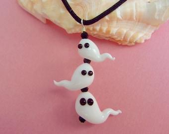 Ghost Necklace - Handmade Lampwork Bead Art - SRA
