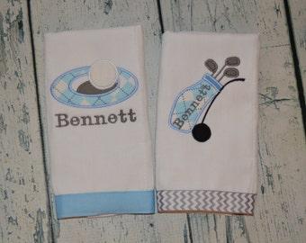 Personalized Golf Burp Cloth Set of 2 Burpies MONOGRAM