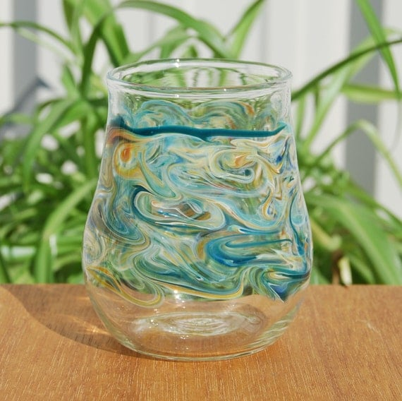 Handblown stemless glass with blue and gold - Hand blown stemless wine glasses ...