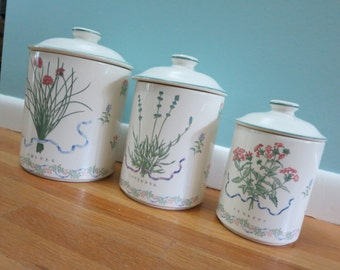 Vintage Woodbine Meadows Canisters,  Set of Three, Made by Certified International  Corp.