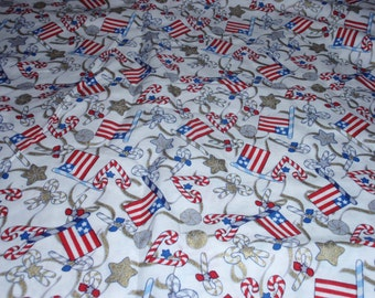 Patriotic Red Blue White Star American Flag 100% Cotton Fabric 1/2 Yard