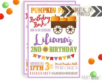 Pumpkin Patch Invitation | Digital or Printed | Pumpkin Party | Pumpkin Invite | Girly Pumpkin | Fall Birthday Invitation | Little Pumpkin