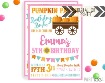 Pumpkin Patch Invitation | Digital or Printed | Pumpkin Party | Pumpkin Invite | Girly Pumpkin | Fall Birthday Invitation | Little Pumpkin