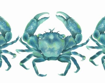 Turquoise Green Crabs Limited Edition Watercolor Art Print Hamptons Style Artwork  Original Affordable Art