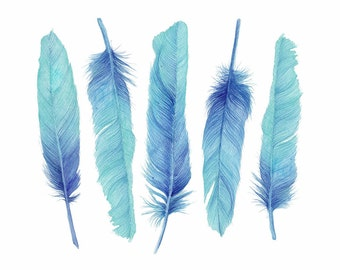 Turquoise Feathers Watercolor Art Print Original Art Boho or Beach House Wall Decor