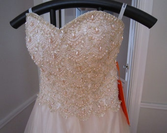 NOS Bustier Pearl and Tulle Prom Ball Wedding Gown