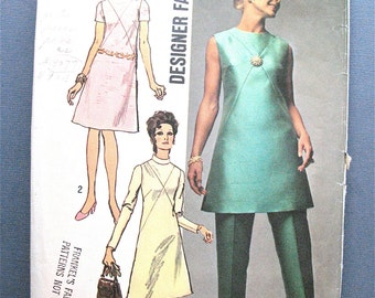 Simplicity 9062 © 1970 Misses' Dress or Tunic and Pants Designer Fashion Vintage Sewing Pattern Bust 36