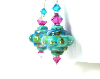 Teal Blue Pink Earrings, Lampwork Earrings, Dangle Earrings, Statement Earrings, Colorful Glass Earrings, Baroque Earrings, Gift Under 25