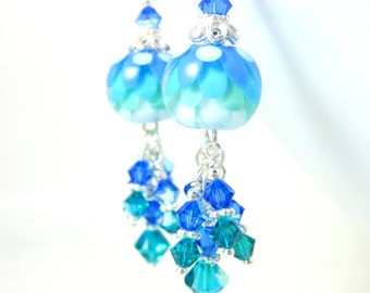 Blue Green White Water Lily Earrings, Crystal Dangle Earrings, Lotus Earrings, Flower Earrings, Botanical Earrings, Floral Lampwork Earrings
