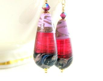 Pink Black Red Black Gold Earrings, Teardrop Earrings, Murano Earrings, Dangle Earrings, Statement Earrings, Drop Earrings, Murano Jewelry