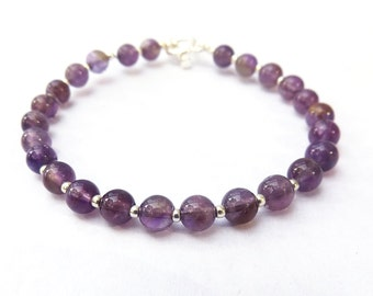 Amethyst Bracelet, Women's Beaded Bracelet for a Small-Medium Sized Wrist