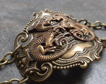 Renaissance Jewelry Dragon Bracelet Brass Cuff