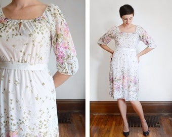 1970s Sheer Floral Dress - S/M