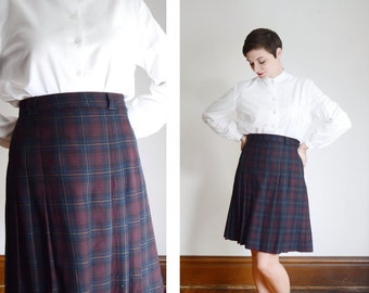 1980s Dark Plaid Wool Skirt - M/L