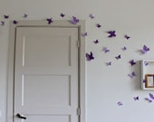 3D Purple butterfly wall decals for the nursery - variation set of 30 - FREE SHIPPING