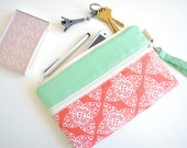 Phone Wristlet, Phone Wallet, Phone Case with Strap, iPhone 6S Bag, iPhone 6S PLUS Case - Coral Damask