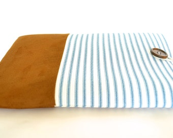 "11"" - 15.6"" inch Laptop Pouch, Padded Custom Laptop Sizes Available, 12 inch Mac Sleeve 11.6 inch Laptop Sleeve Cover - Nautical Blue Stripe"