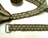 Medieval Tablet Weaving Belt in Brown, Gray, Light Blue, and Green Wool